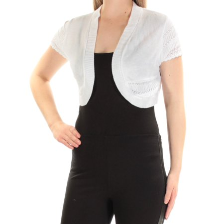 Belted Petite Cardigan - SIGNATURE Womens White Short Sleeve Open Cardigan Top Petites  Size: L