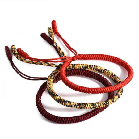 Tinymills 3PCS Lucky Handmade Buddhist Knots Rope Bracelet Tibetan Best Gift Women/Men Jewelry