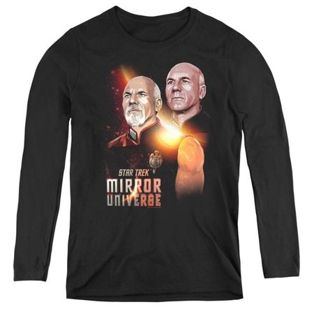 Image of Trevco Sportswear CBS2224-WL-5 Womens Star Trek & Mirror Picard-Long Sleeve Tee, Black - 2X