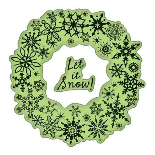 "Inkadinkado Christmas Cling Stamps 4""X4"" Sheet-Snowflake Wreath"