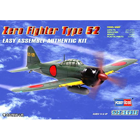 Zero Fighter Type 52 Airplane Model Building Kit, 1-piece canopy, twin-row engine, drop tank and basic cockpit insert By Hobby Boss Ship from US