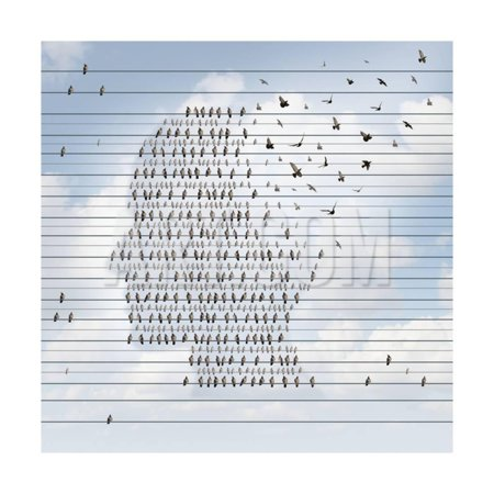Alzheimer Disease Concept as a Medical Mental Health Care Idea as a Group of Birds on an Electrical Print Wall Art By Lightspring (Group Theme Ideas)