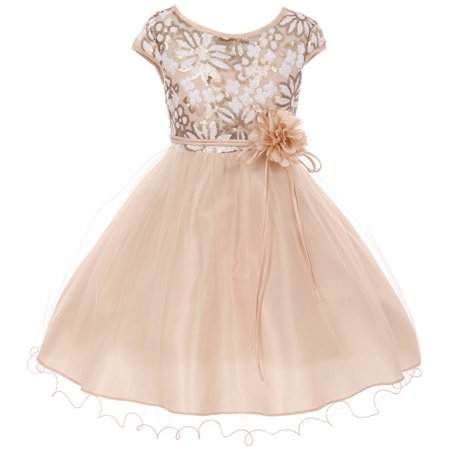 Little Girl Illusion Neckline Floral Sequin Shiny Pageant Flower Girl Dress USA Champagne 4 JKS 2116 BNY Corner