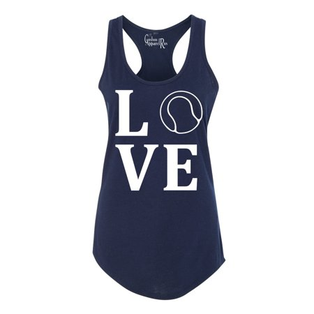Love Tennis Sports Jersey Womens Graphic Tees Racerback Tank