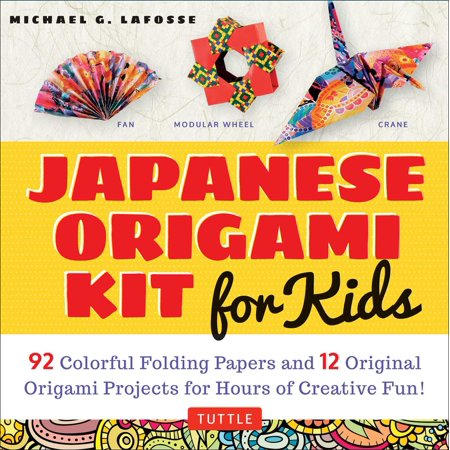 Japanese Origami Kit for Kids : 92 Colorful Folding Papers and 12 Original Origami Projects for Hours of Creative Fun! [Origami Book with 12 projects]