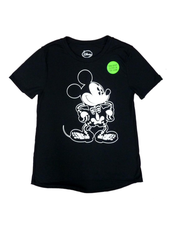 Mickey Face Black Tee Shirt 2020 Halloween Disney   Disney Womens Black Mickey Mouse Halloween T Shirt Glow