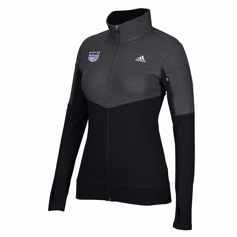 Sacramento Kings NBA Adidas Black Lightweight Climalite Performance Full Zip Team Logo Pullover Jacket For Women by Adidas