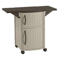 Suncast Outdoor Patio Resin Serving Station with Cabinets, Light Taupe