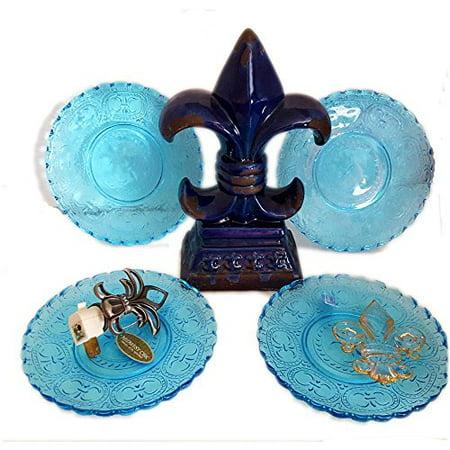 Fleur de Lis Home Decor Gift Bundle: Nightlight, Ornament, Statue & Set of 4 Plates Gift Bundle [7 (Fleur De Lis Cake Plate)