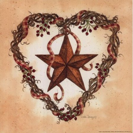 Barn Star with Heart Wreath Poster Print by Linda Spivey (10 x 10) Linda Spivey Sunflowers