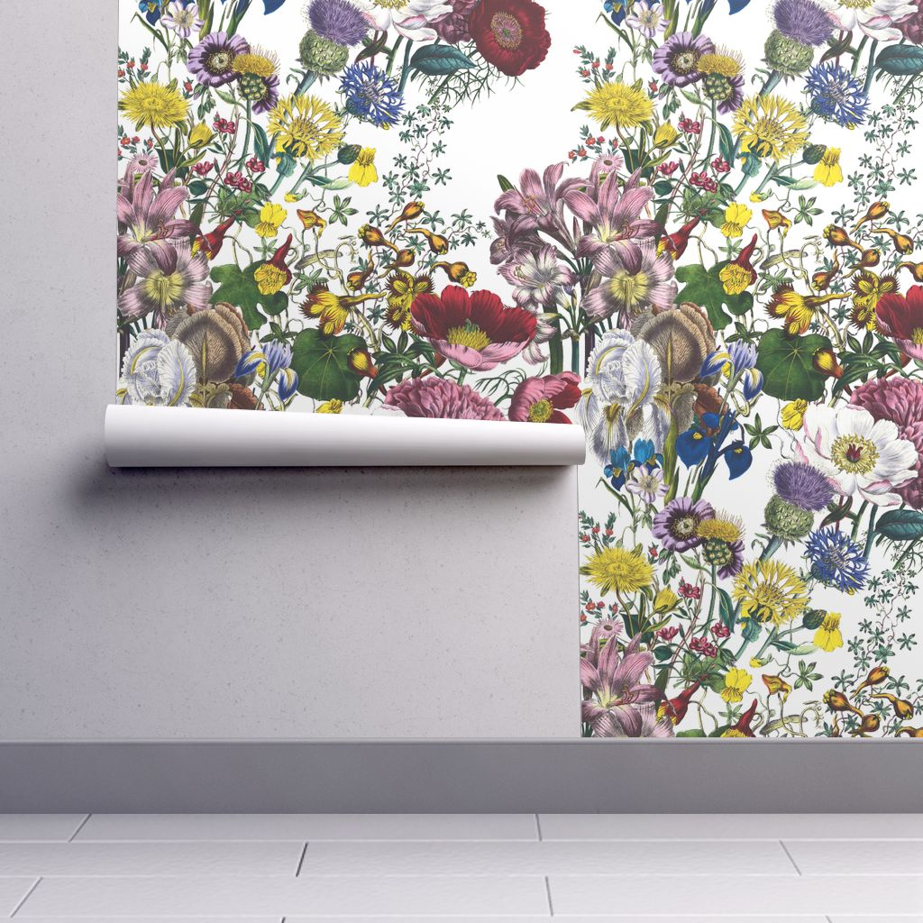 Removable Water Activated Wallpaper Flowers Floral Vintage Style