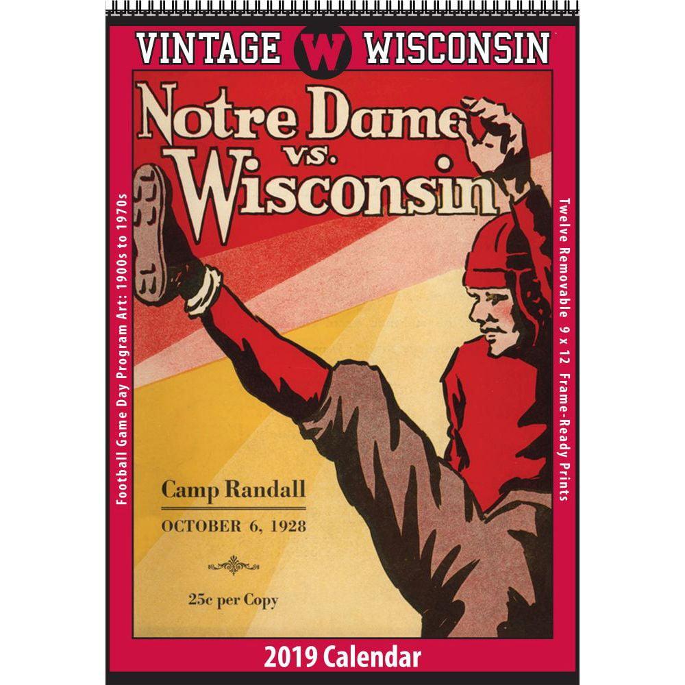 2019 Wisconsin Vintage Football Wall Calendar, Wisconsin Badgers by Asgard Press