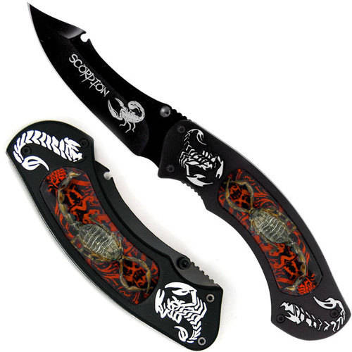 Whetstone Crimson Scorpion Pocket Knife Folding Knife, Black