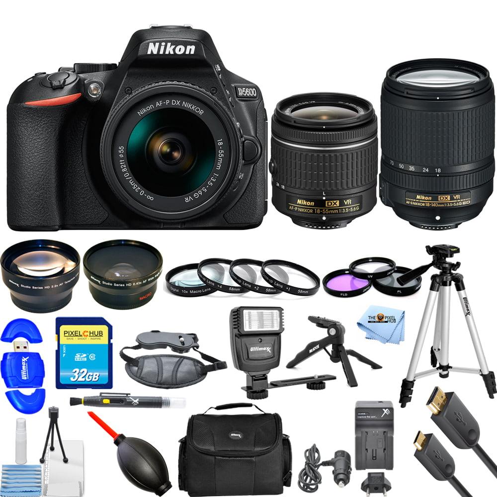 Nikon D5600 DSLR Camera W/ AF-P 18-55mm & 18-140mm VR Lens! MEGA KIT NEW MODEL!!