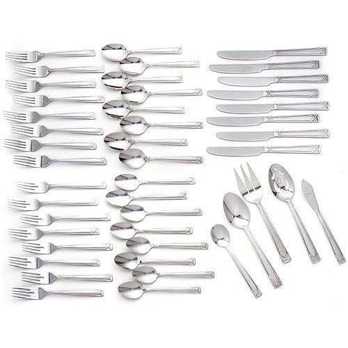 Cambridge Silversmiths Crossroads Sand 45-Piece Flatware Set with 5-Piece Hostess Set