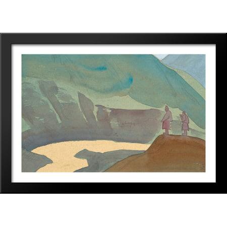 (River Chandra 40x28 Large Black Wood Framed Print Art by Nicholas Roerich)