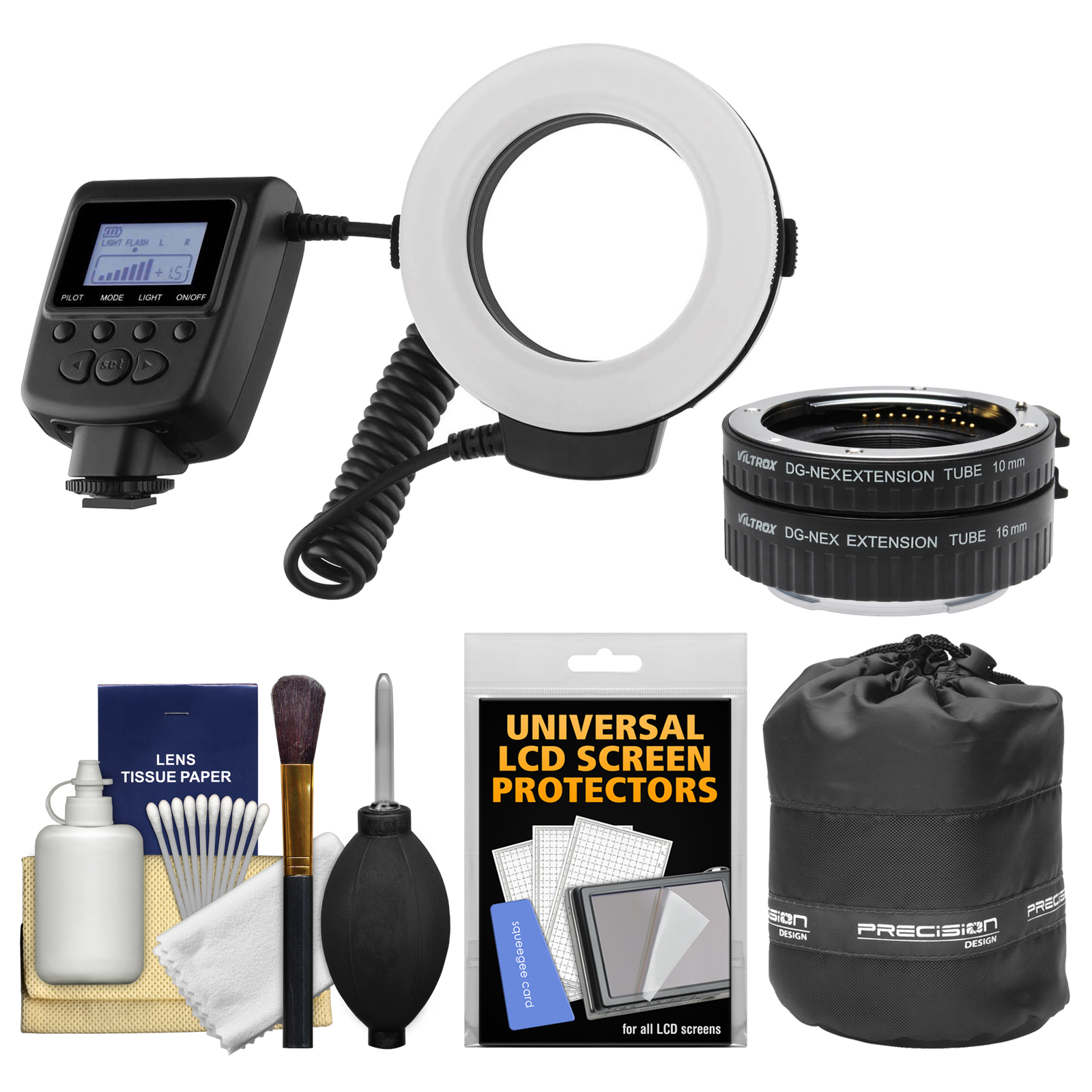 Vivitar Universal Macro 48 LED Ring Light & Flash with Colored Diffusers + Macro Extension Tube Set + Pouch Kit for Sony Alpha E-Mount A7 II, A7R II, A7S, A3000, A5100, A6000 Camera
