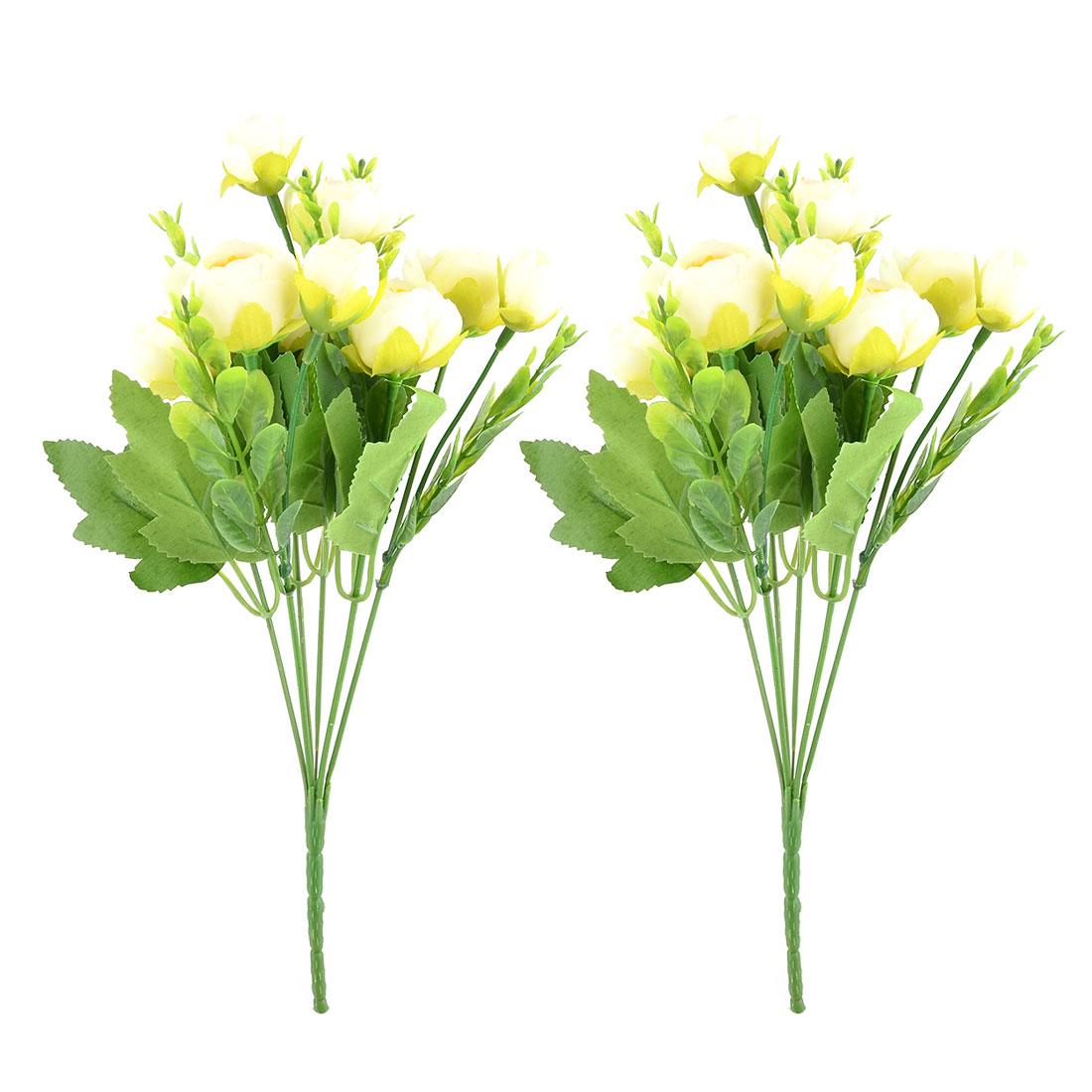 Wedding Fabric Camellia Shaped Craft Decor Artificial Flower Bouquet Beige 2pcs