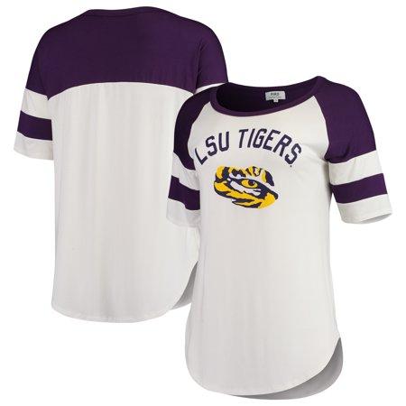 LSU Tigers Summit Sportswear Women's Piko Avery Football Stripe T-Shirt - White/Purple Auburn Tigers Womens Football Jersey