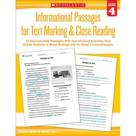 Informational Passages for Text Marking & Close Reading: Grade 4 : 20 Reproducible Passages with Text-Marking Activities That Guide Students to Read Strategically for Deep -