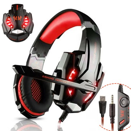 Psp 2000 Headphone - Stereo Gaming Headsets, 3.5mm Headphones with LED Light & Noise Canceling Microphone for PlayStation 4, New Xbox One, PC, Nintendo 3DS, Laptop, PSP, Tablet, iPad, Computer, Mobile Phone