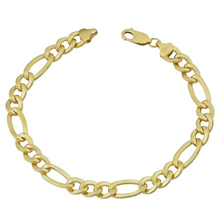 14K Yellow Gold Filled Solid Figaro Chain Bracelet, 7.8 mm, 9