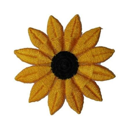ID 6025 Yellow Sunflower Head Patch Flower Garden Embroidered Iron On Applique