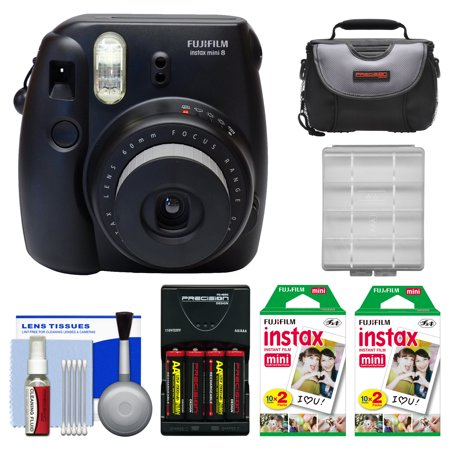 Fujifilm Instax Mini 8 Instant Film Camera (Black) with 40 Instant Film + Case + Batteries & Charger + Kit