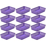 YBM Home 12-Pack Plastic Storage Baskets for Office Drawer, Classroom Desk, Junk Drawers, Shelves, Kitchen Pantry and Countertop