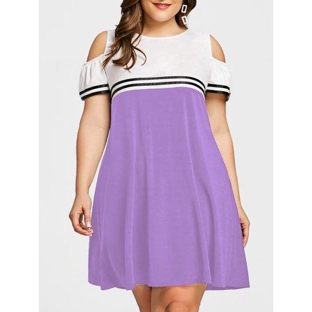 98bdb1e0e8364 Dresses Plus Size Double Striped Open Shoulder Sexy Plus Size Dresses -  Walmart.com