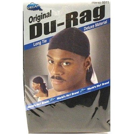 2 Pack - Dream Original Long Tie Du-Rag, Black 1 ea