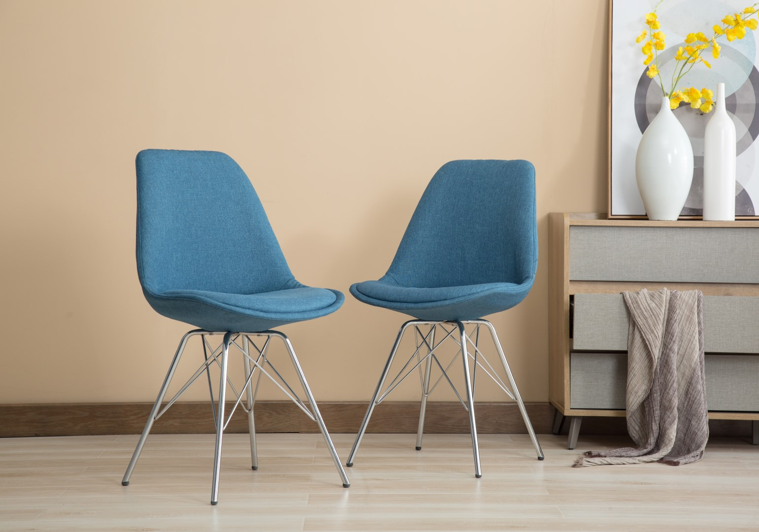 Groovy Porthos Home Set Of 2 Upholstered Dining Chairs With Chrome Metal Legs And A Striking Blue Fabric An Eames Style Chair For Living Room Dining Room Download Free Architecture Designs Scobabritishbridgeorg