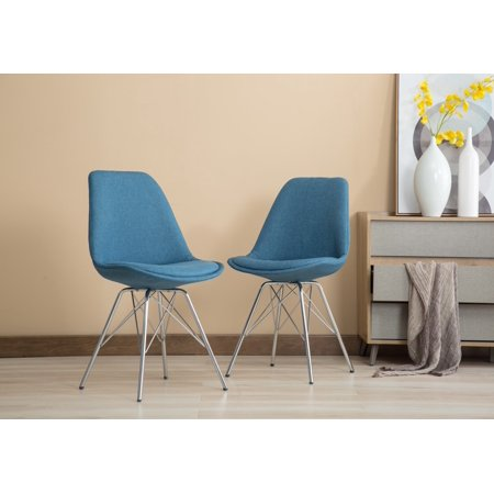 Magnificent Porthos Home Set Of 2 Upholstered Dining Chairs With Chrome Metal Legs And A Striking Blue Fabric An Eames Style Chair For Living Room Dining Room Inzonedesignstudio Interior Chair Design Inzonedesignstudiocom
