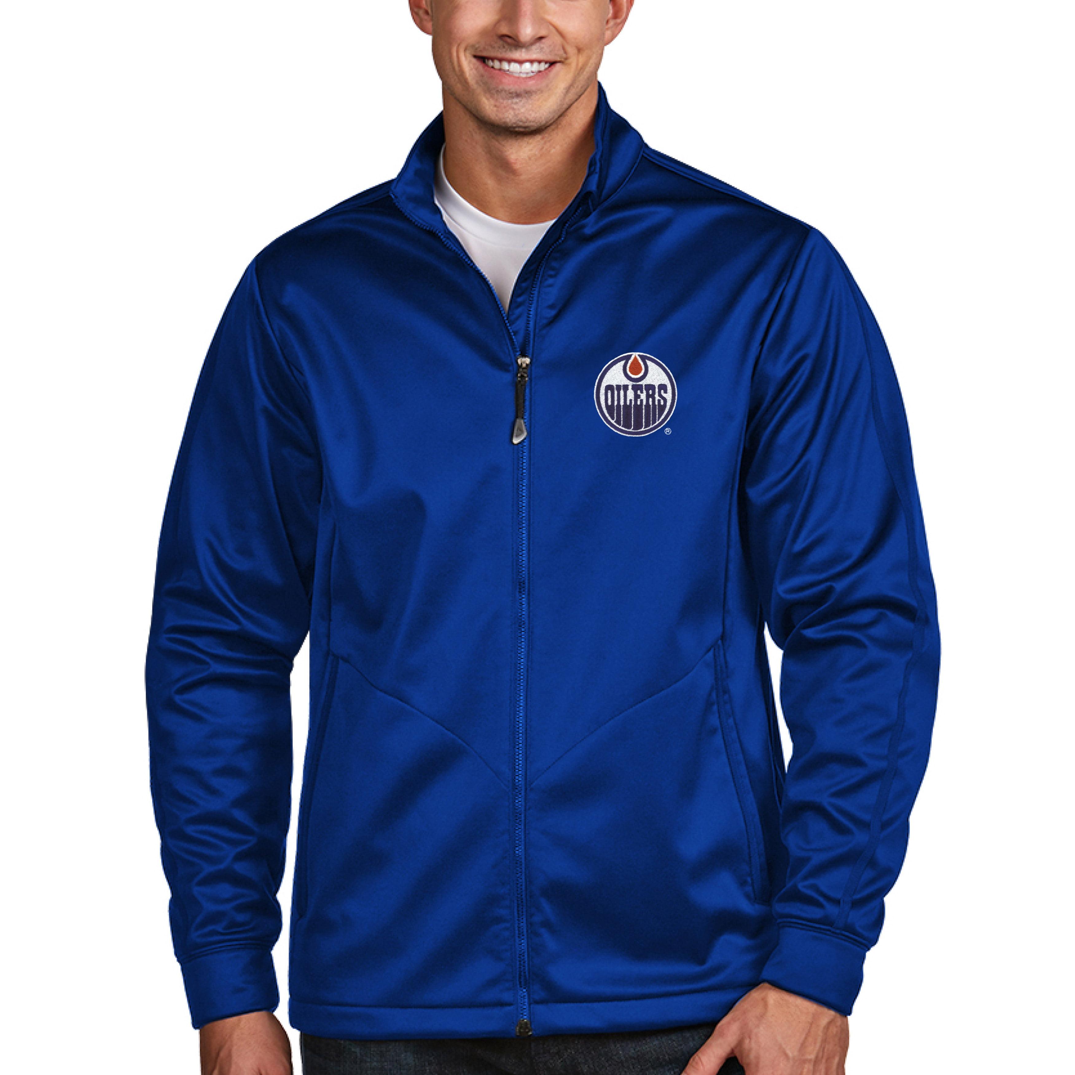 Edmonton Oilers Antigua Full Zip Golf Jacket - Royal