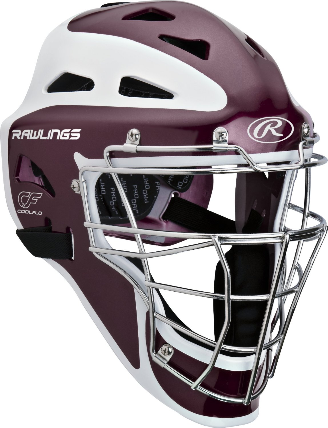Rawlings Pro Preferred CoolFlo Youth baseball catchers gear helmet mask Maroon by
