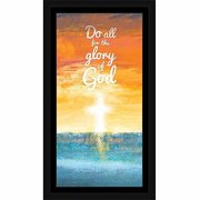Glory Of God Abstract Sun Rise Set Cross Religious Painting Blue & Orange, Framed Canvas Art by Pied Piper Creative