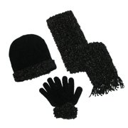 Women's Loopy Chenille Sparkle Hat Gloves and Scarf Winter Set