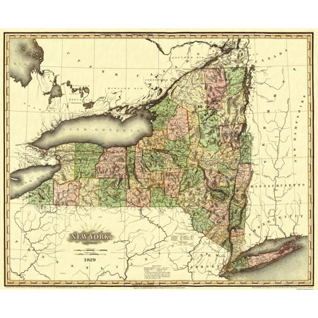 State Map New York.Old State Map New York Tanner 1819 27 94 X 23 Walmart Com
