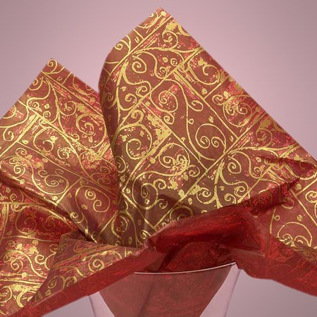 Burgundy Wine Gold Swirls 40 pack Colorful 20 x 30 inches Gift Wrapping Tissue