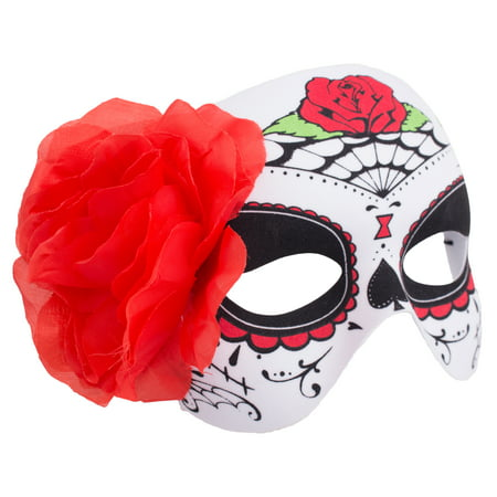 Day Of Dead Halloween Mask (Veil Entertainment Day of The Dead Rose & Webs Half Mask, White Red, One)