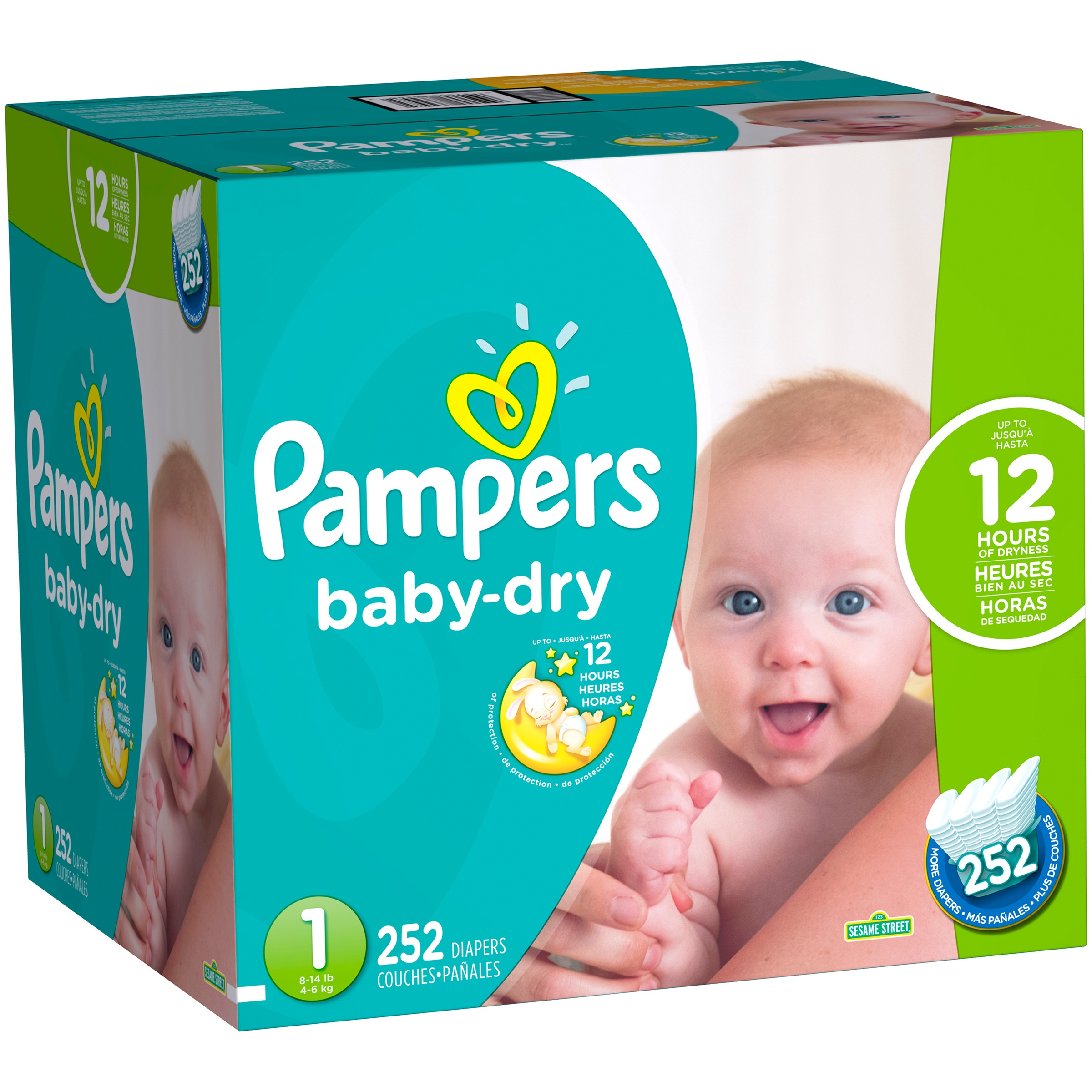 Pampers Baby Dry Diapers, Size 1, 252 Diapers