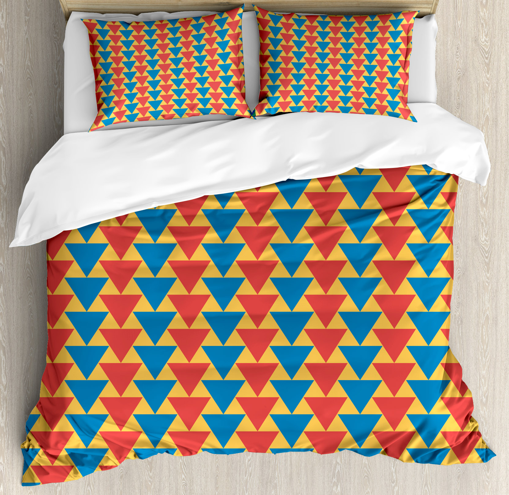 Kids Queen Size Duvet Cover Set, Triangles Downwards Vertical Geometrical Pattern Shabby Colored Retro Tile, Decorative 3 Piece Bedding Set with 2 Pillow Shams, Scarlet Blue Marigold, by Ambesonne