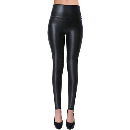 VIV Collection Womens Sexy Tight Fit Faux Leather High Waisted Leggings (Black, - Gold Sparkle Leggings