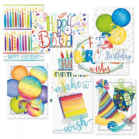 Make a Wish Birthday Greeting Cards Value Pack - Set of 16 (8 designs) Large 5 x 7 cards, Sentiments Inside, Happy Birthday
