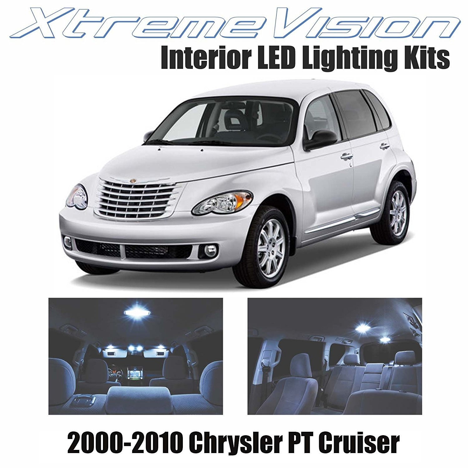 XtremeVision LED for Chrysler PT Cruiser 2000-2010 (10 Pieces) Cool White Premium Interior LED Kit Package + Installation Tool