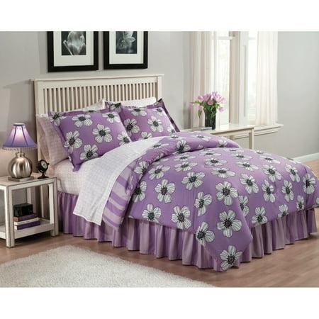 Jackie Kendall Lavender Flower Full Bed In Bag Purple Comforter Sheet Reversible Purple Flower Bead