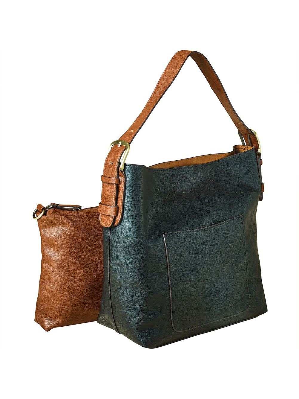 Women's Classic 2-In-1 Hobo Shoulder Bag and Small Clutch Purse - Vegan Leather