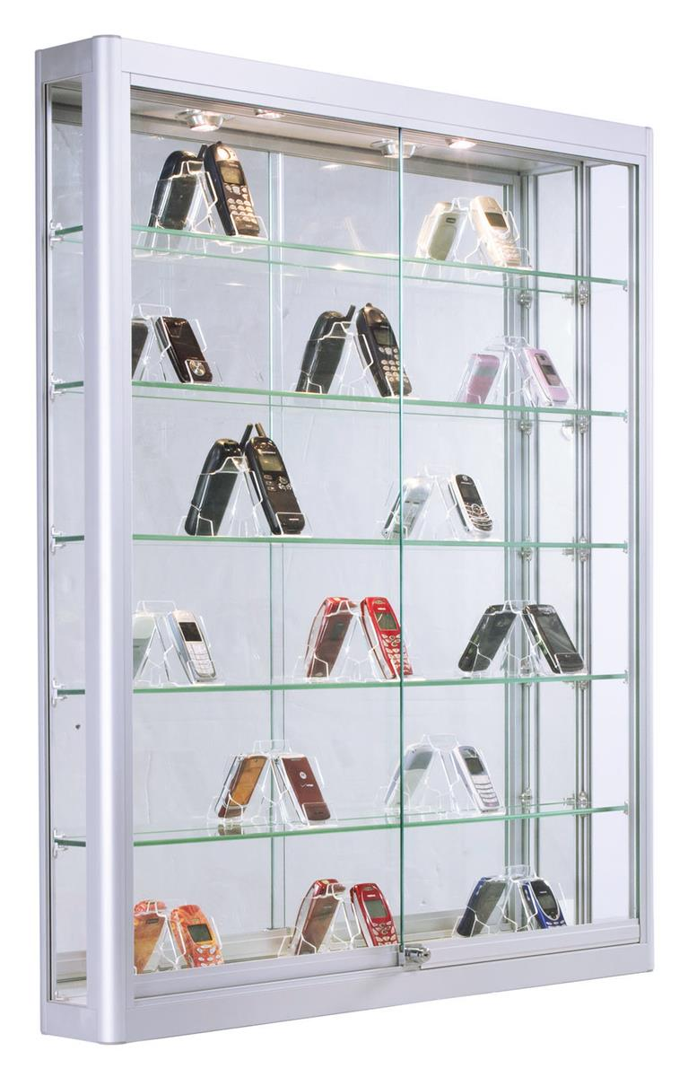 Displays2go Wall Mounted Aluminum Cabinet With Glass Shel.