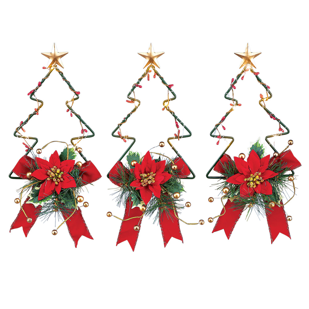 Holiday Trees Solar Powered Outdoor Christmas Lights Porch Fence Decoration