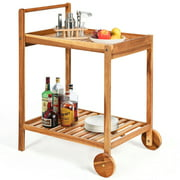 Gymax 2-Tier Acacia Rolling Kitchen Trolley Cart Dining Serving Cart Outdoor w/ Wheels